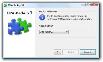 Office Produktaktivierung Backup im Vista Design