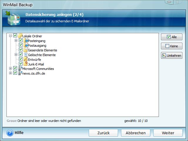 Screenshots zu Windows Mail Backup - Schauen Sie sich an wie